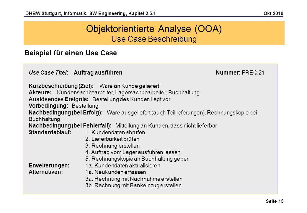 Objektorientierte Analyse (OOA) Use Case Beschreibung