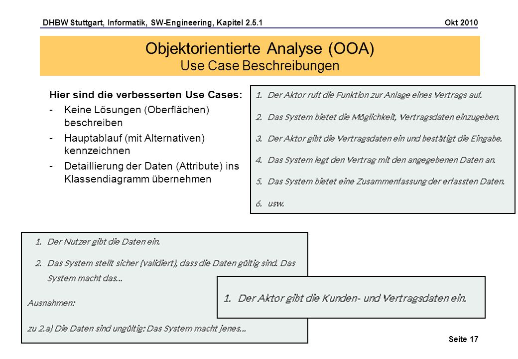 Objektorientierte Analyse (OOA) Use Case Beschreibungen