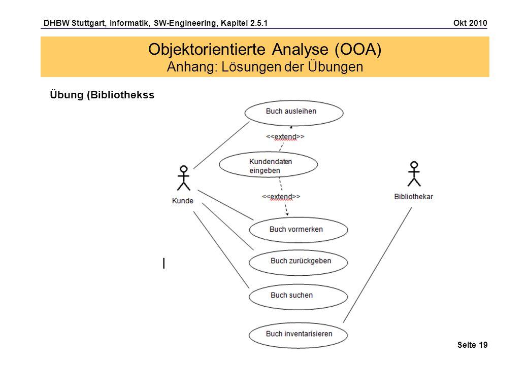 Objektorientierte Analyse (OOA) Anhang: Lösungen der Übungen
