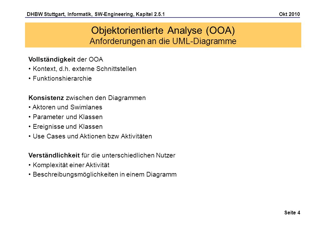 Objektorientierte Analyse (OOA) Anforderungen an die UML-Diagramme