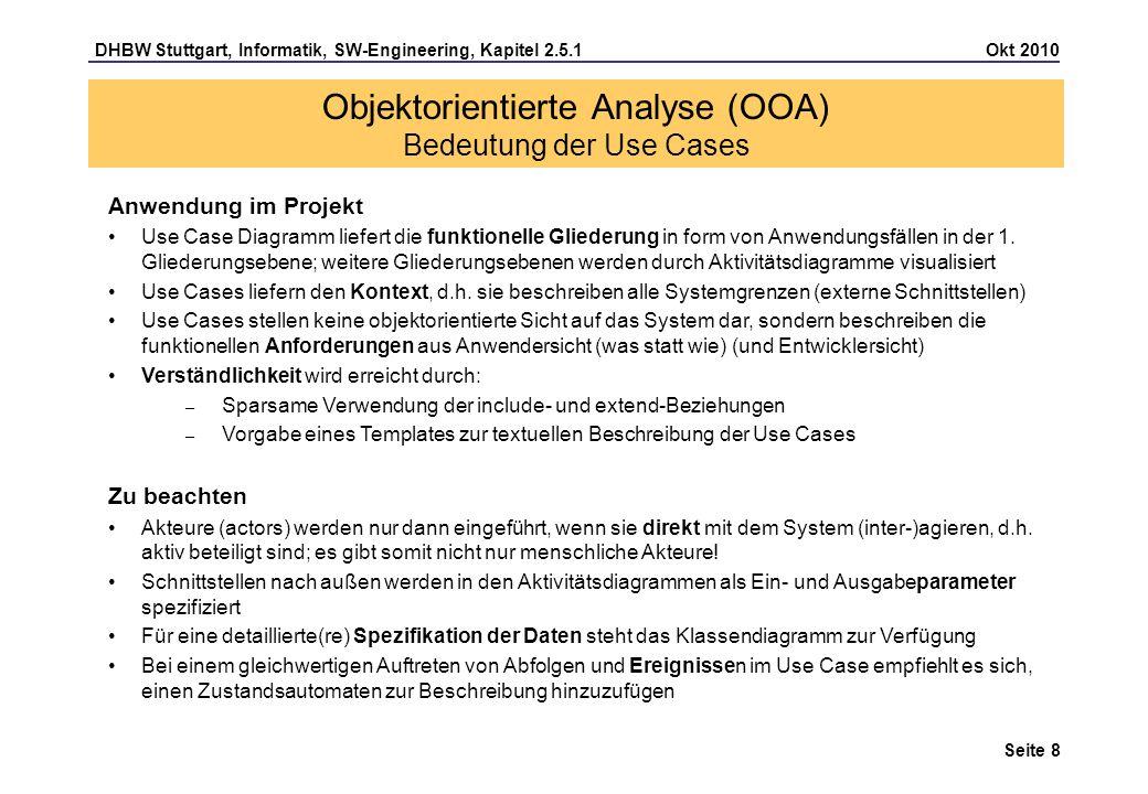 Objektorientierte Analyse (OOA) Bedeutung der Use Cases