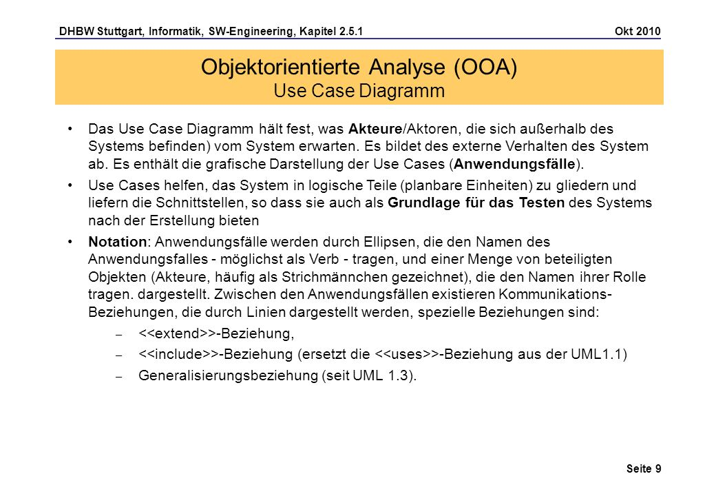 Objektorientierte Analyse (OOA) Use Case Diagramm