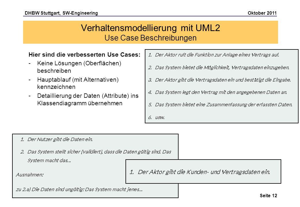 Verhaltensmodellierung mit UML2 Use Case Beschreibungen
