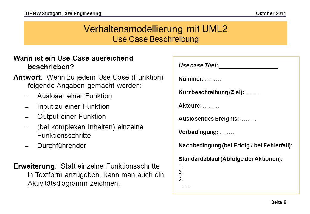 Verhaltensmodellierung mit UML2 Use Case Beschreibung