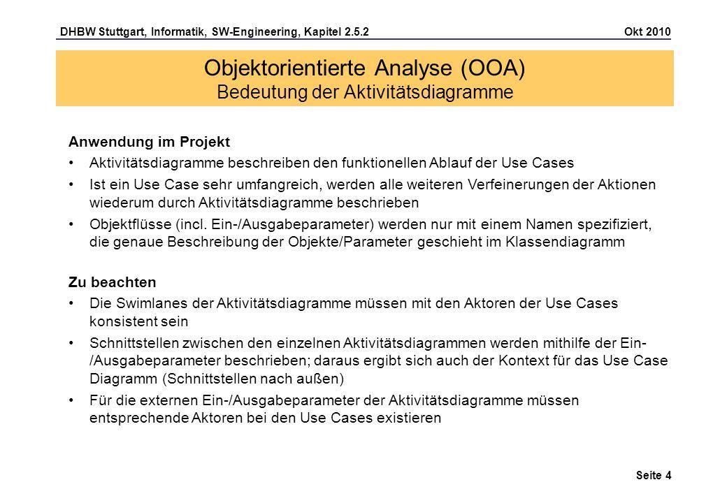 Objektorientierte Analyse (OOA) Bedeutung der Aktivitätsdiagramme