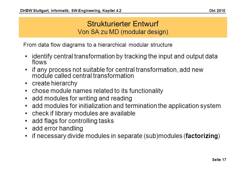 Strukturierter Entwurf Von SA zu MD (modular design)