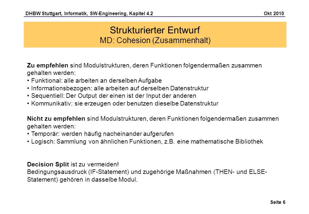 Strukturierter Entwurf MD: Cohesion (Zusammenhalt)