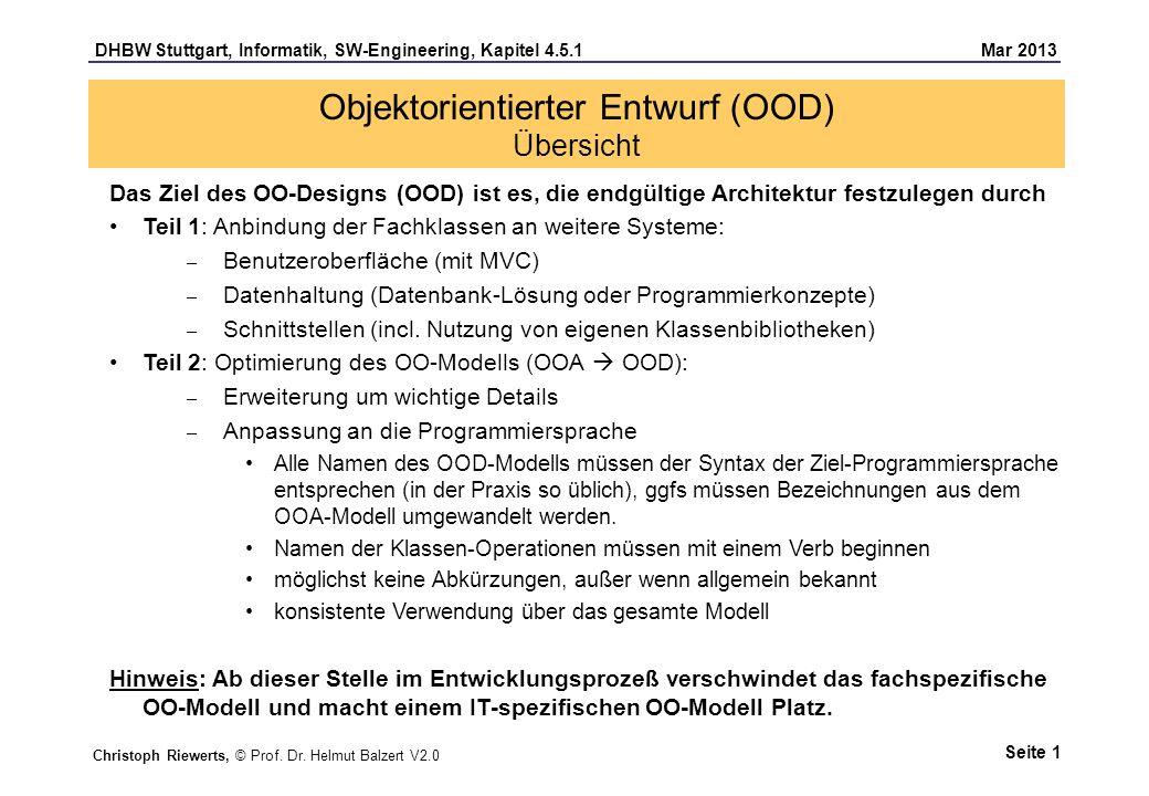 Objektorientierter Entwurf (OOD) Übersicht