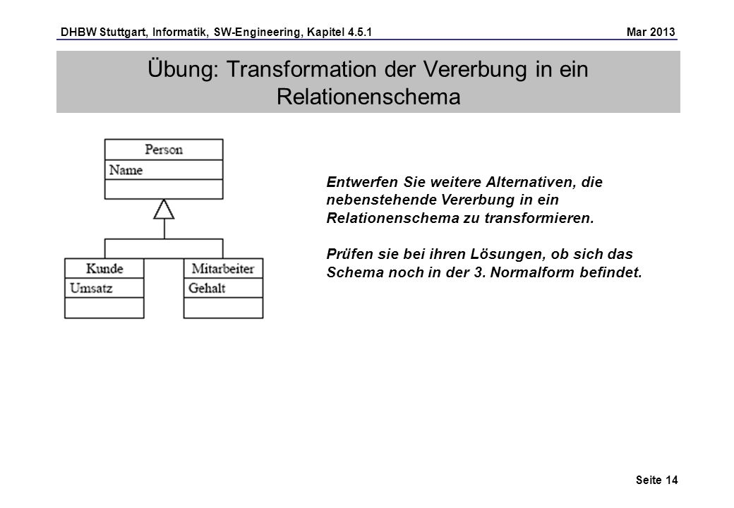 Übung: Transformation der Vererbung in ein Relationenschema