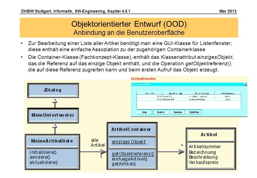 Objektorientierter Entwurf (OOD) Anbindung an die Benutzeroberfläche