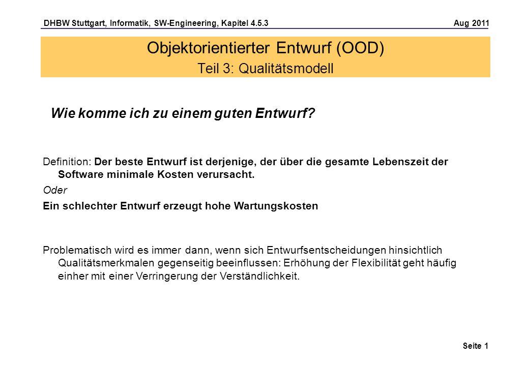 Objektorientierter Entwurf (OOD) Teil 3: Qualitätsmodell
