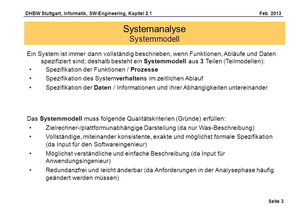 Systemanalyse Systemmodell