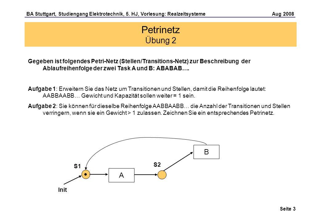Petrinetz Übung 2 Gegeben ist folgendes Petri-Netz (Stellen/Transitions-Netz) zur Beschreibung der Ablaufreihenfolge der zwei Task A und B: ABABAB….