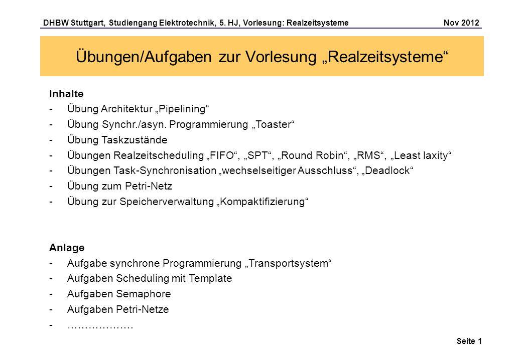 """Übungen/Aufgaben zur Vorlesung """"Realzeitsysteme"""