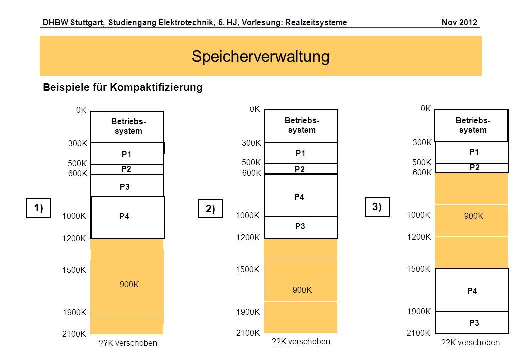 Speicherverwaltung Beispiele für Kompaktifizierung 1) 3) 2) 0K 0K 0K