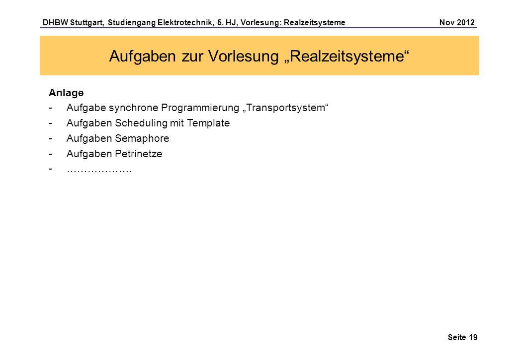 """Aufgaben zur Vorlesung """"Realzeitsysteme"""