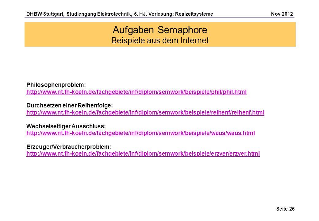 Aufgaben Semaphore Beispiele aus dem Internet