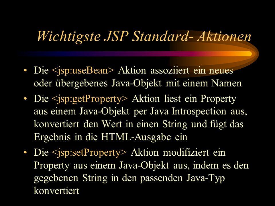 Wichtigste JSP Standard- Aktionen