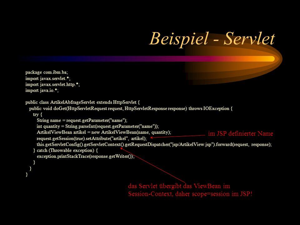 Beispiel - Servlet im JSP definierter Name