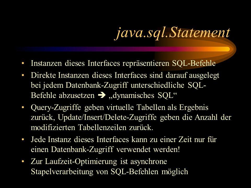java.sql.Statement Instanzen dieses Interfaces repräsentieren SQL-Befehle.