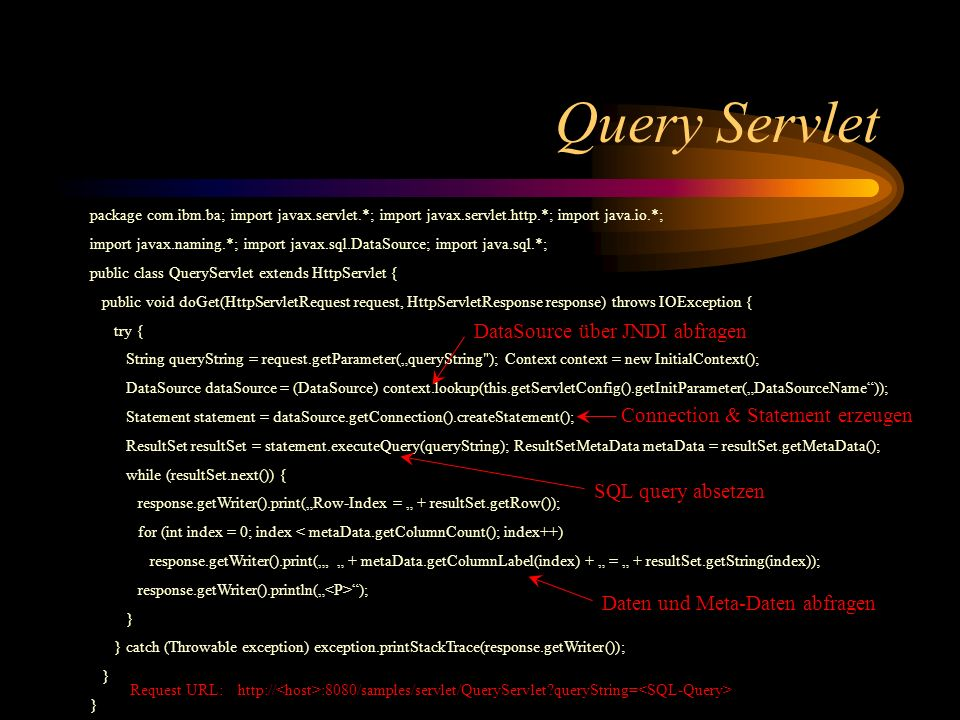 Query Servlet DataSource über JNDI abfragen