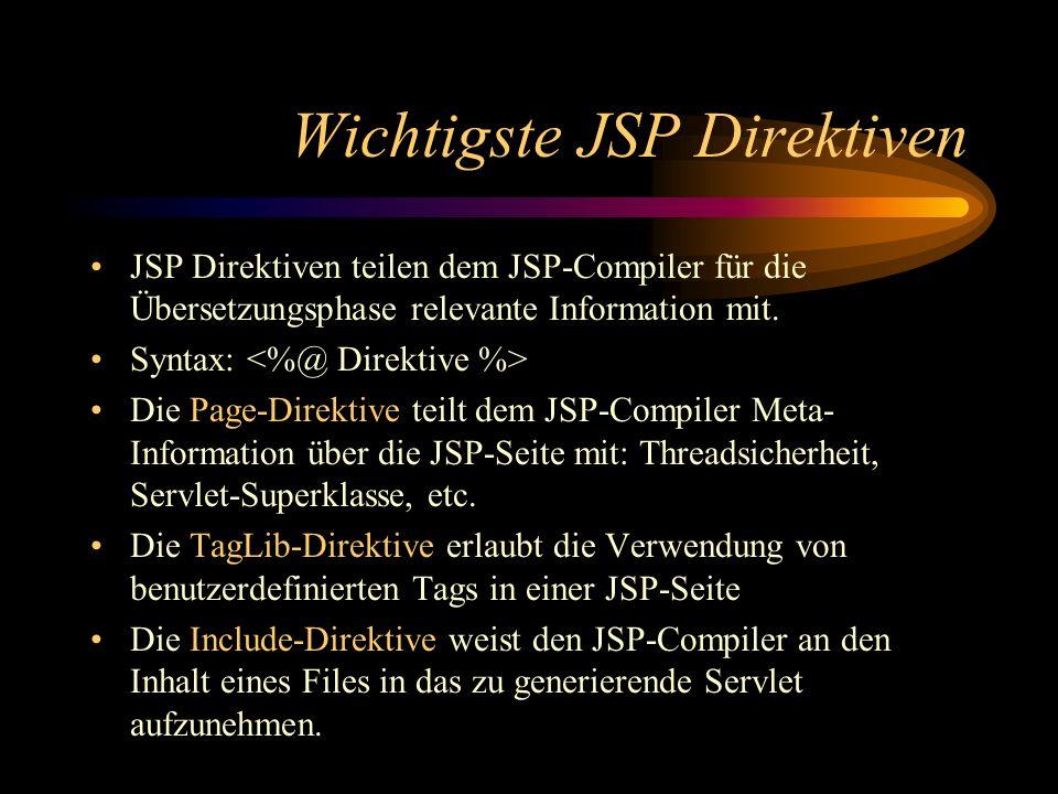 Wichtigste JSP Direktiven