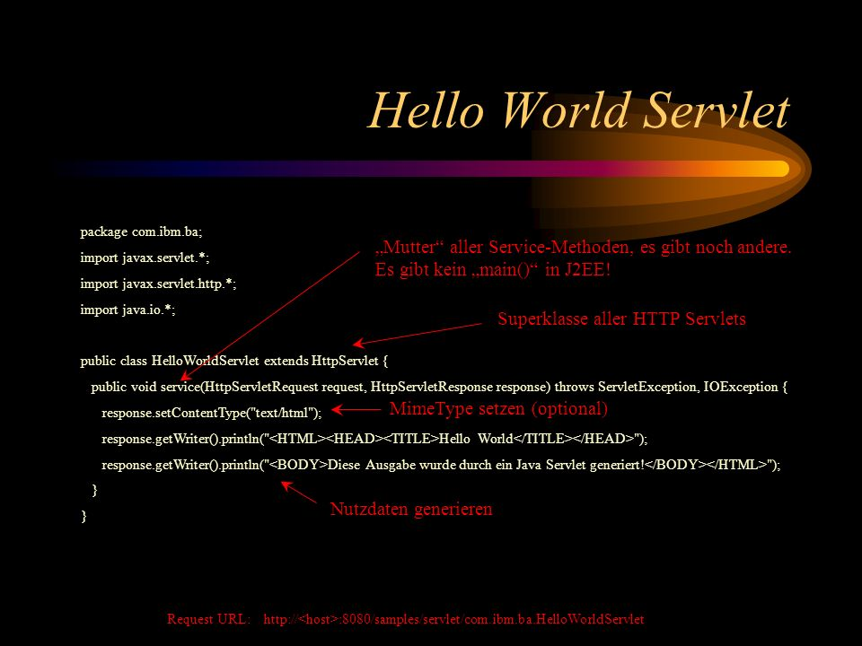 Hello World Servlet package com.ibm.ba; import javax.servlet.*; import javax.servlet.http.*; import java.io.*;