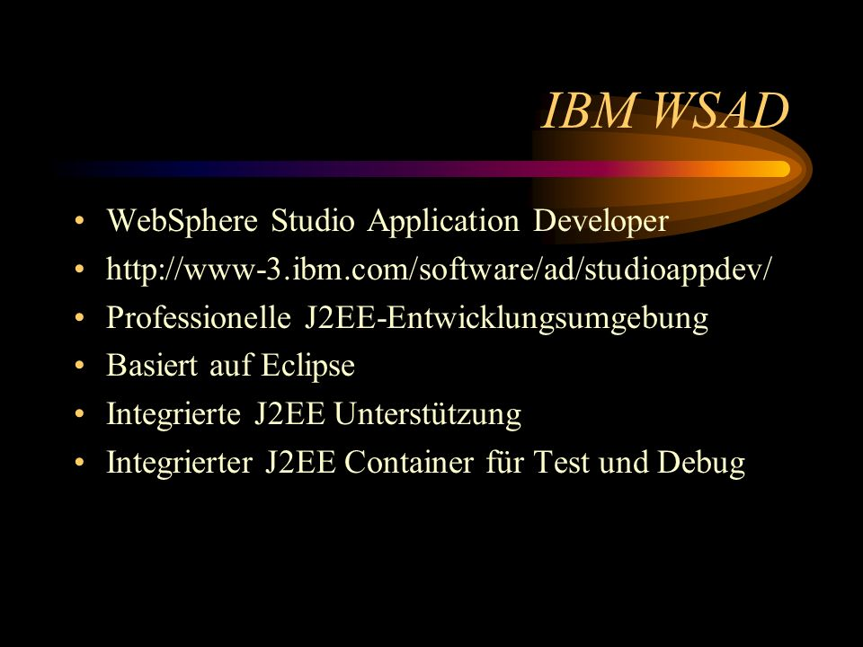 IBM WSAD WebSphere Studio Application Developer