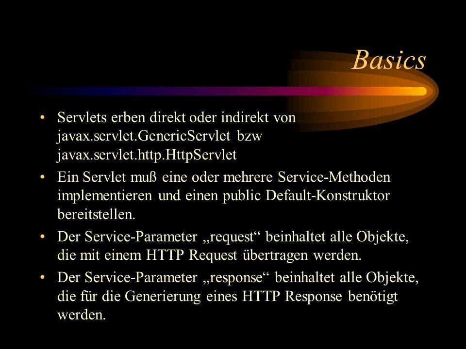 Basics Servlets erben direkt oder indirekt von javax.servlet.GenericServlet bzw javax.servlet.http.HttpServlet.