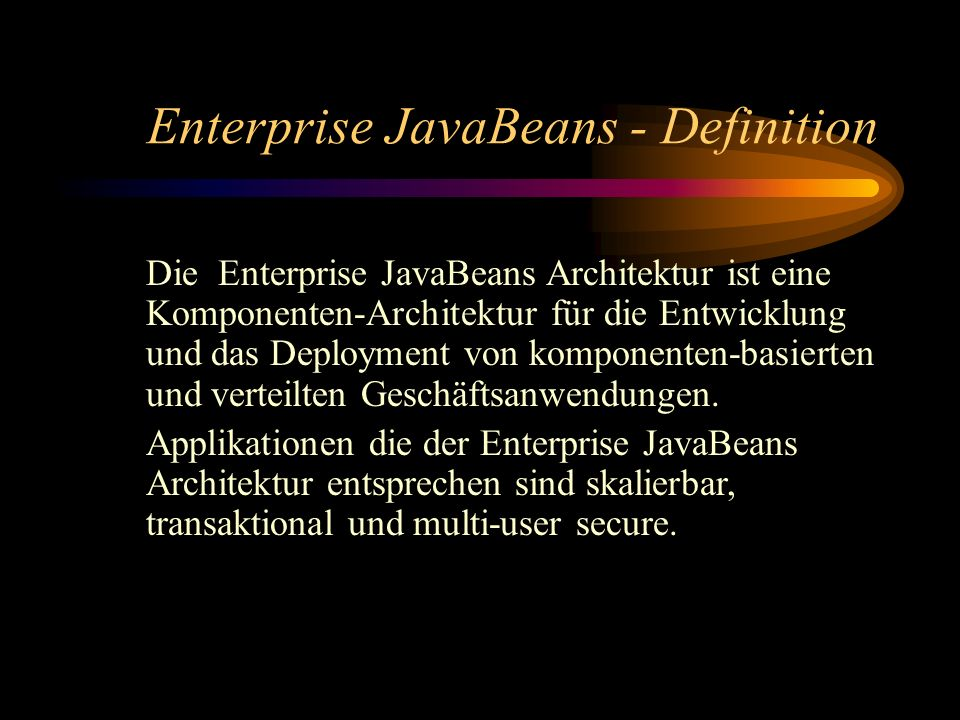 Enterprise JavaBeans - Definition