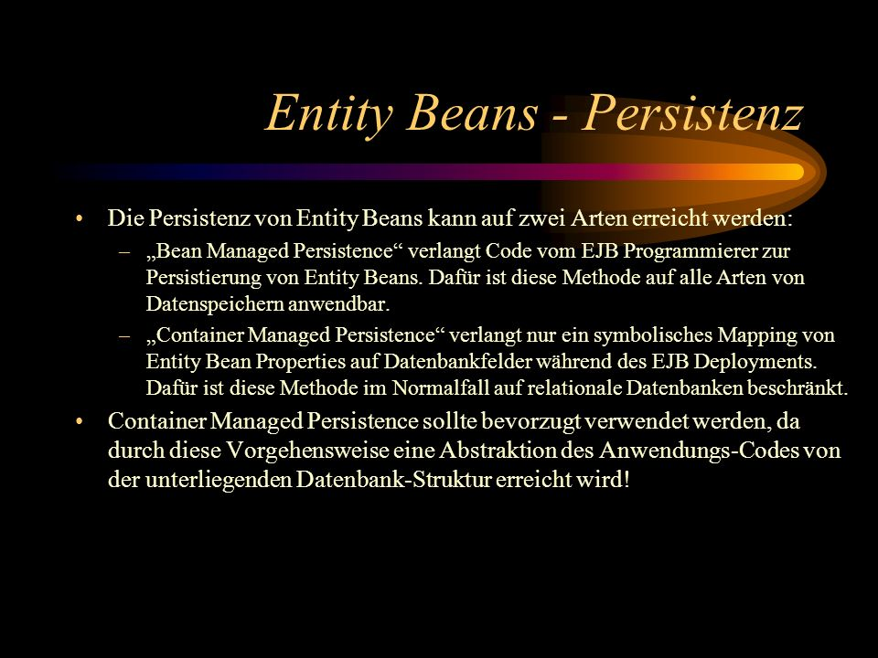 Entity Beans - Persistenz