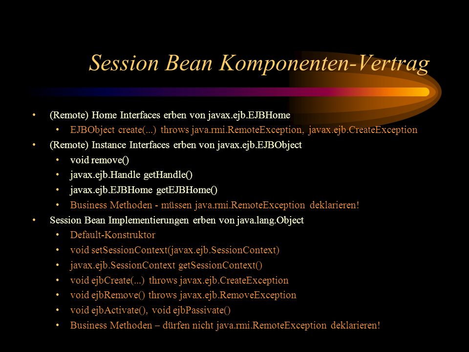 Session Bean Komponenten-Vertrag