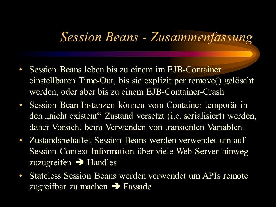 Session Beans - Zusammenfassung