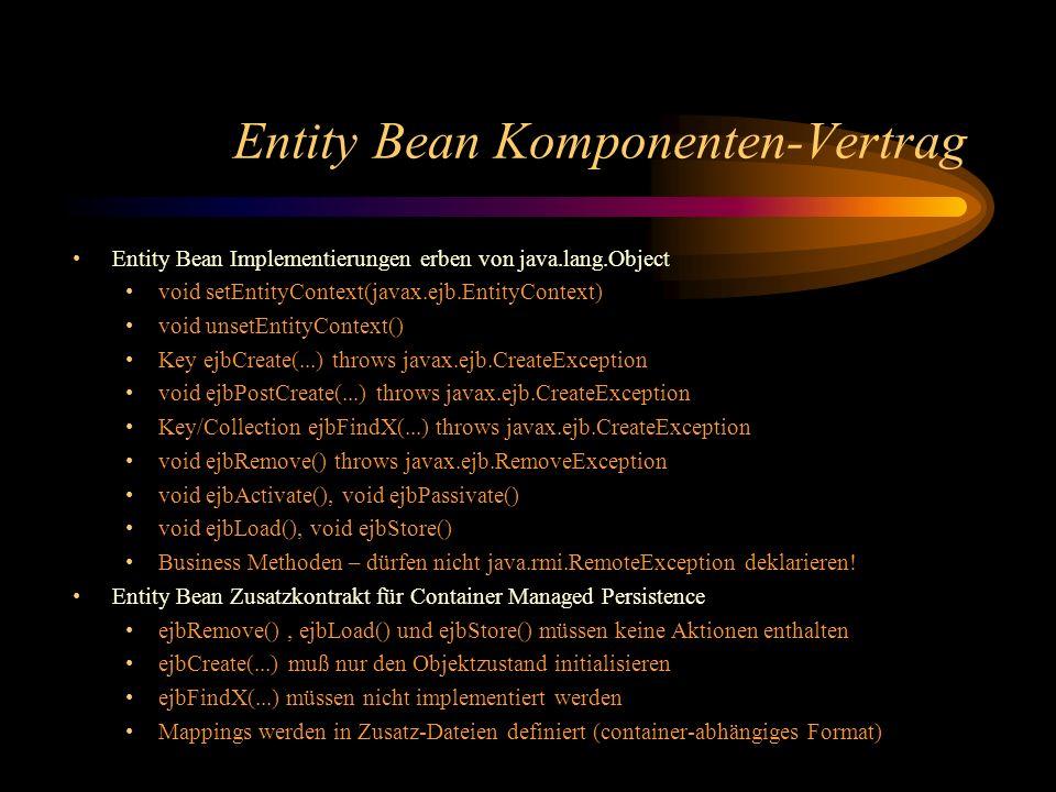 Entity Bean Komponenten-Vertrag