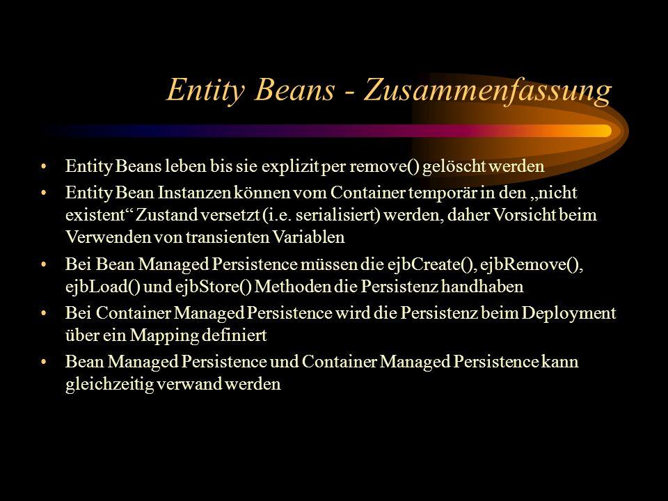 Entity Beans - Zusammenfassung