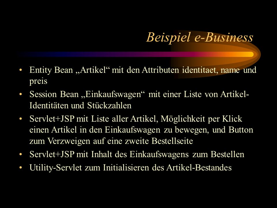 """Beispiel e-Business Entity Bean """"Artikel mit den Attributen identitaet, name und preis."""