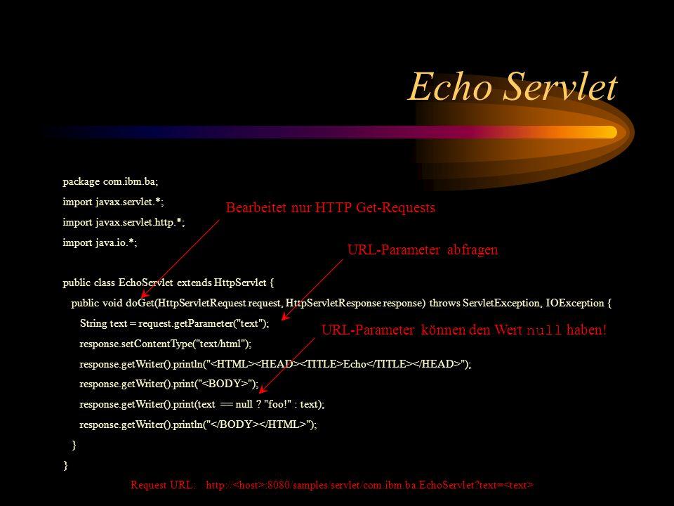 Echo Servlet Bearbeitet nur HTTP Get-Requests URL-Parameter abfragen