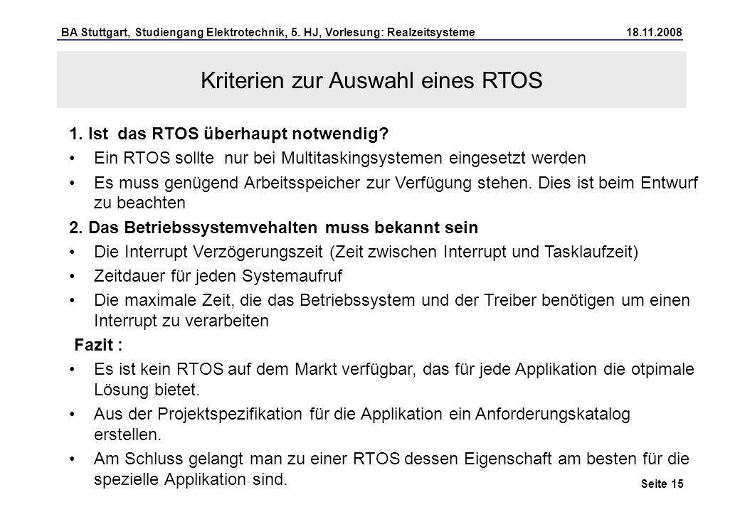 Kriterien zur Auswahl eines RTOS