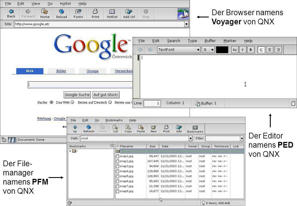 Der Browser namens Voyager von QNX