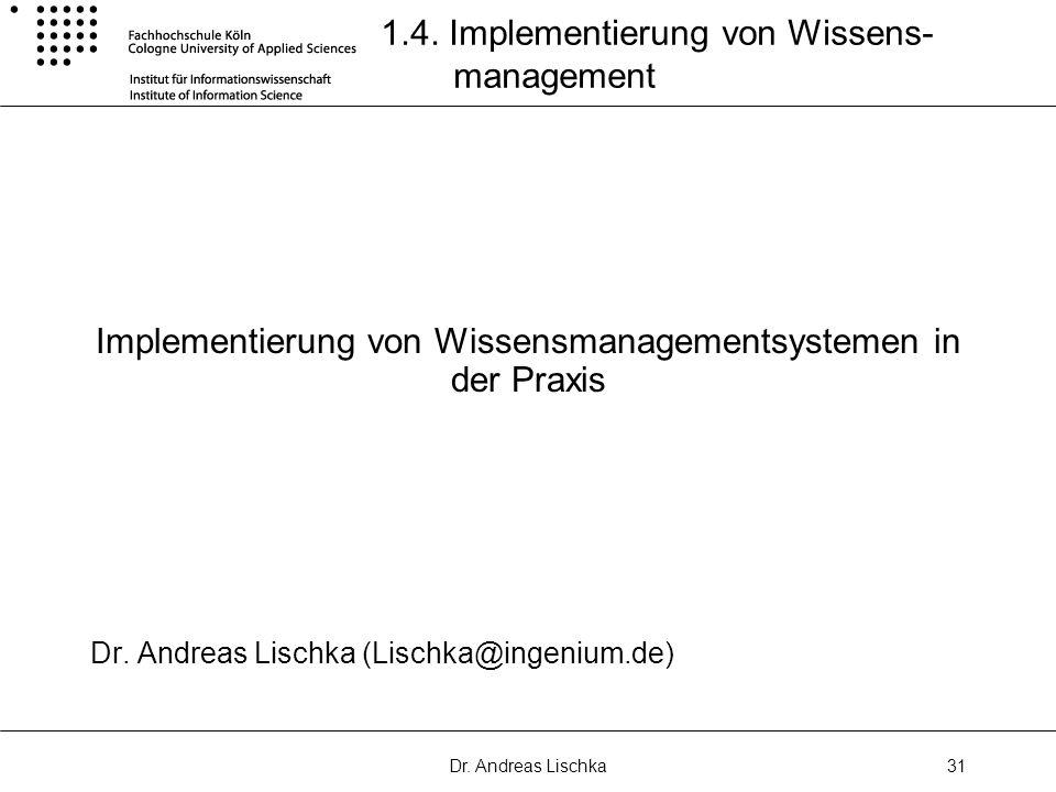 1.4. Implementierung von Wissens- management
