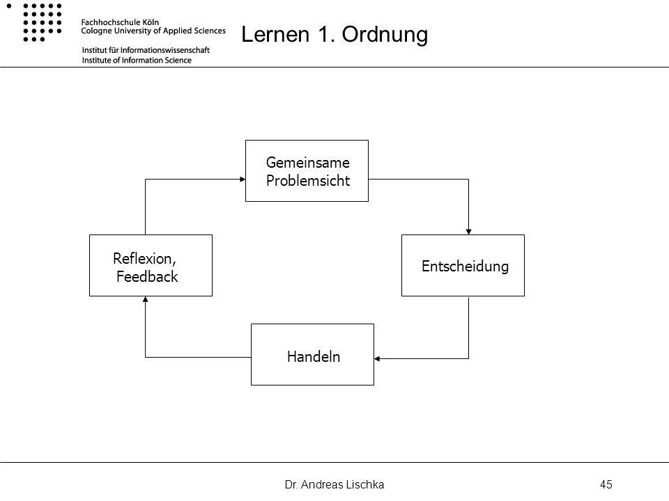Lernen 1. Ordnung Gemeinsame Problemsicht Reflexion, Feedback