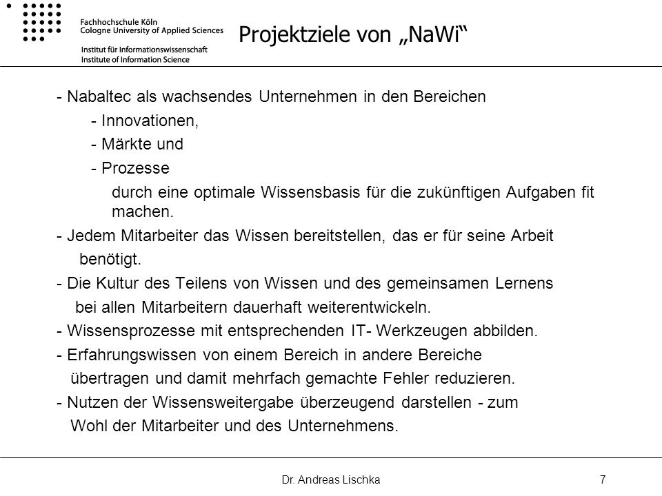 "Projektziele von ""NaWi"