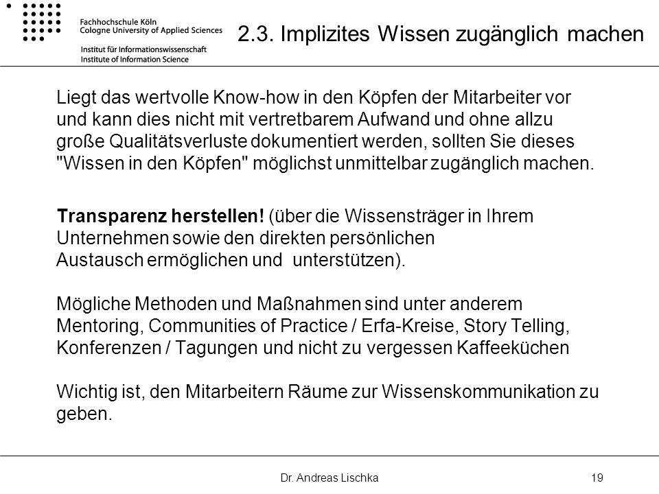 2.3. Implizites Wissen zugänglich machen