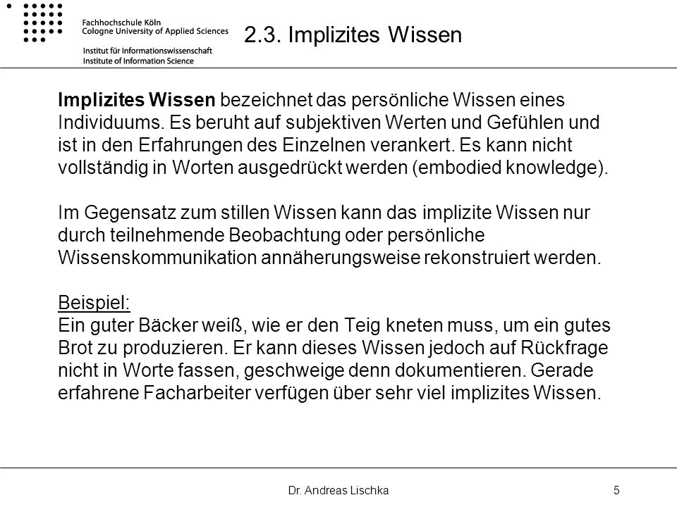 2.3. Implizites Wissen