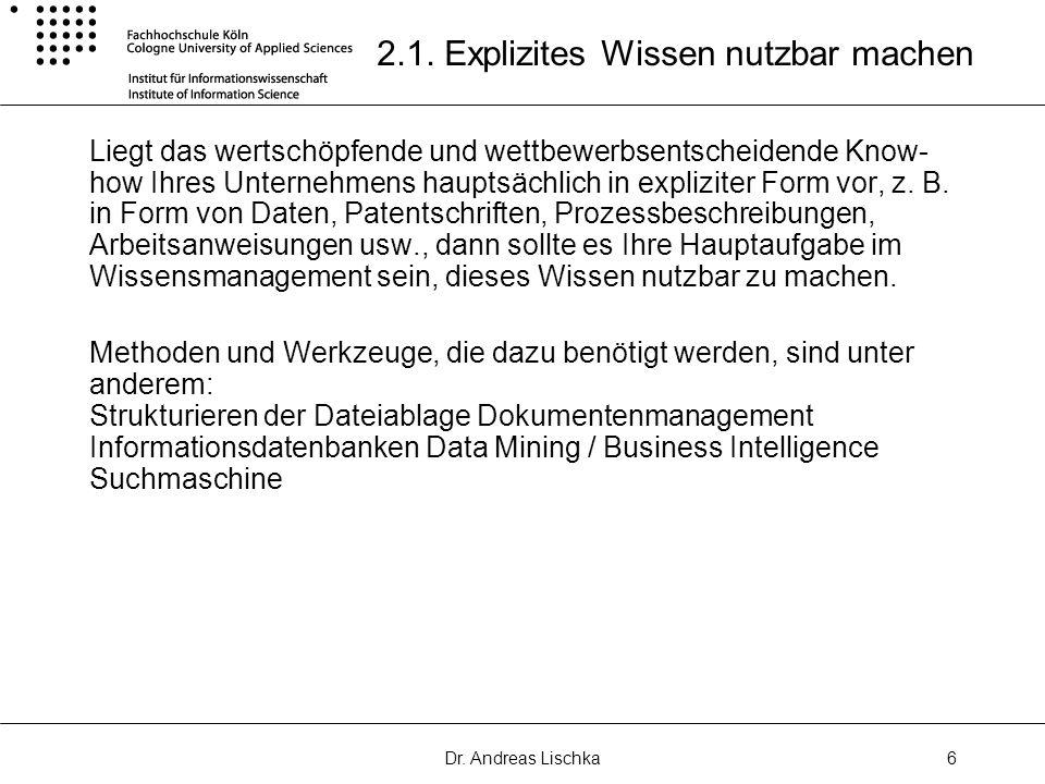 2.1. Explizites Wissen nutzbar machen