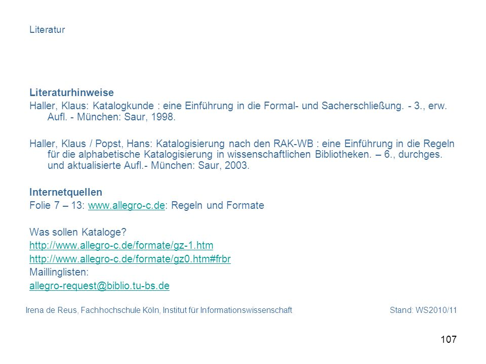 Folie 7 – 13: www.allegro-c.de: Regeln und Formate
