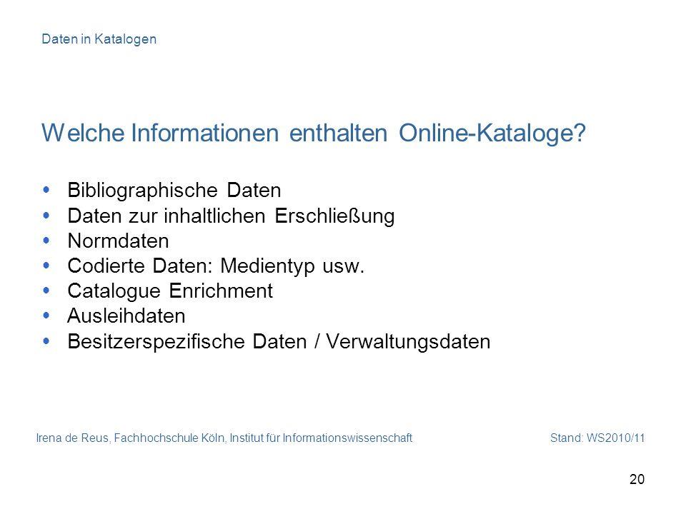 Welche Informationen enthalten Online-Kataloge