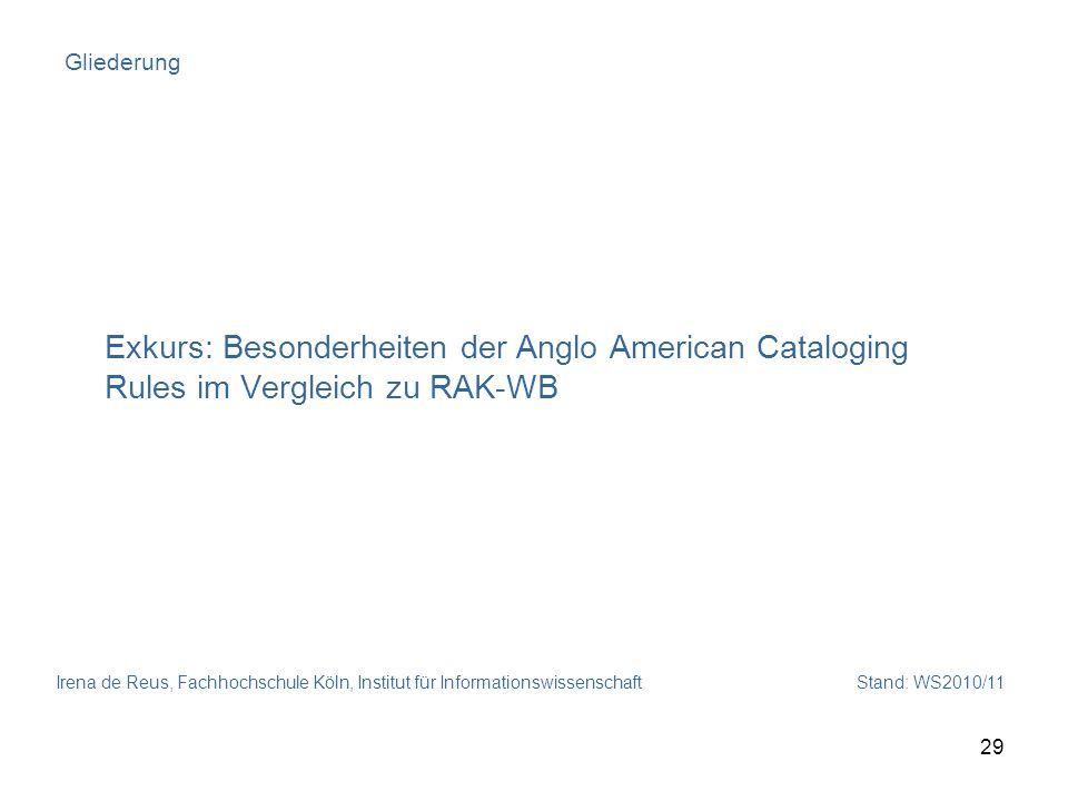 Gliederung Exkurs: Besonderheiten der Anglo American Cataloging Rules im Vergleich zu RAK-WB