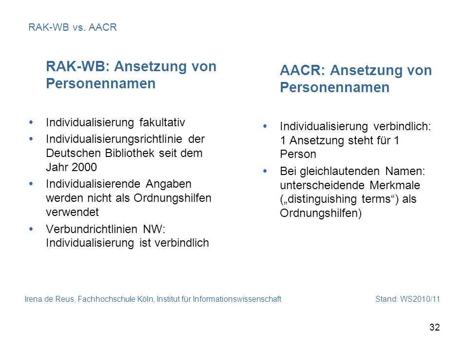 RAK-WB: Ansetzung von Personennamen AACR: Ansetzung von Personennamen