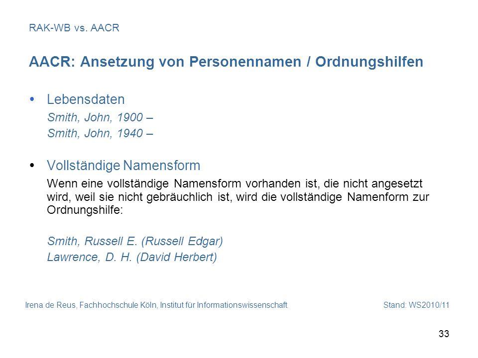 AACR: Ansetzung von Personennamen / Ordnungshilfen